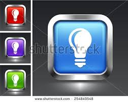 vector square blue icon lighting bulb. bulb flat vector icons light on blue square button icon lighting