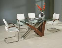 Modern Glass Dining Table Wood Bases Thedigitalhandshake Furniture