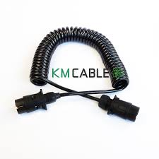 7 way 12v plastic plug coiled cable assemblies