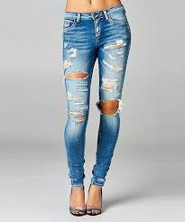 Cello Jeans Medium Wash Distressed Skinny Jeans