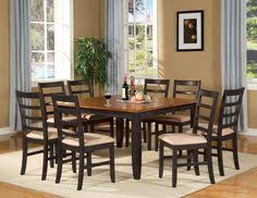 9 pc square dinette dining table and 8 chairs in black cherry finish dinettestyles