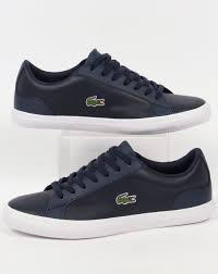 lacoste lacoste lerond leather trainers navy