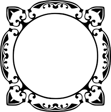 花のイラストフリー素材フレーム枠no30白黒エレガント