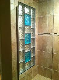 glass block shower window with colored glass blocks