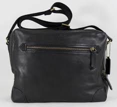 new coach bleecker men s f71373 black leather flight briefcase cross bag nwt