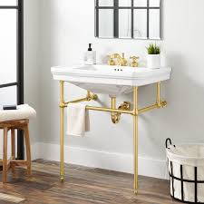 console sink with shelf. Polished Brass For Console Sink With Shelf