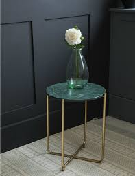 green marble side table double tap to zoom