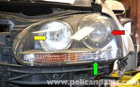 volkswagen golf gti mk v headlight bulb and assembly replacement headlight assemblies on gti mkv can vary depending on the model