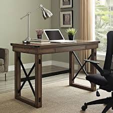 rustic wood office desk.