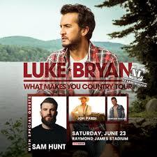 Raymond James Seating Chart Luke Bryan Luke Bryan With Sam Hunt Jon Pardi And Morgan Wallen
