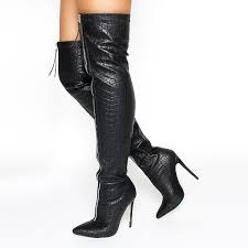 black zip textured vegan leather pointy toe thigh high heel boots image 1