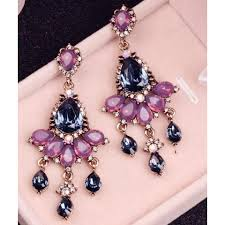 dark blue pink crystals chandelier earrings lightbox moreview