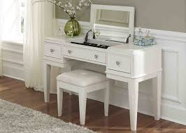 bedroom white painted vanity makeup table storage with lighted