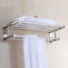 towel holder. Wall Mounted Towel Rack Bathroom Hotel Rail Holder Storage Shelf Stainless  Steel Towel Holder U