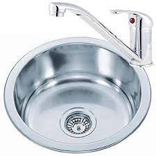 small stainless sink. Simple Sink Small Round Bowl Stainless Steel Inset Kitchen Sink U0026 A Mixer Tap Pack  KST073 On