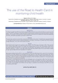 Pdf The Use Of The Road To Health Card In Monitoring Child