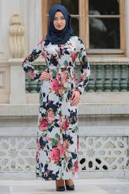 Daily Dress Flower Patterned Navy Blue Hijab Dress 4172l