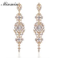 minmin silver color crystal wedding long earrings fl shape chandelier earrings for women brides bridesmaid eh182 whole long earrings chandelier