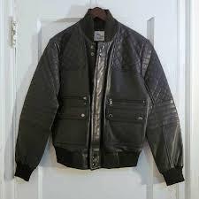 details about 798 saks fifth ave modern men s navy quilted er leather jacket nwot