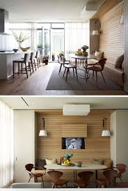 modern dining table with bench. Light Wood Paneling Lines The Wall And Bench Of This Built In Dining Nook Modern Table With