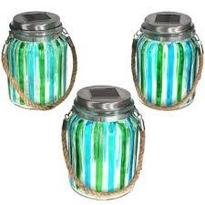 multi color outdoor solar jar design. Striped Solar Lantern Glass Jar 5 Light LED Step (Set Of 3) Multi Color Outdoor Design
