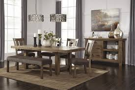 table 4 chairs and bench. tamilo - gray/brown rect dining room ext table, 4 uph side chairs table and bench n