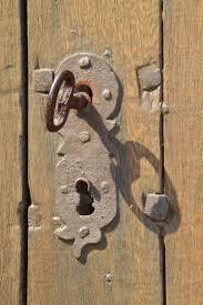 old metal castle close security wooden door iron carving unlock access secret stainless rivet ing door hardware door lock locks to