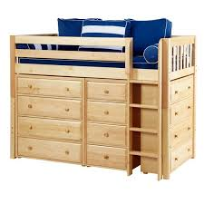 BLING NS : Mid Loft Bed with Straight Ladder, 2 x4 Drawer Dressers & Narrow
