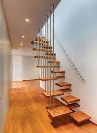 Elegant Iron Pipe Banister Rails Also Floating Wooden Modern Stairs Feat  Wall Handle Hang On White Wall Painted Also Ceiling Lighting In Minimalist  Home ...