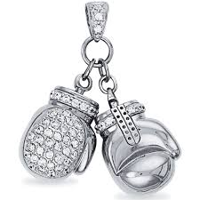 mint of london 925 silver cubic zirconia set double boxing glove pendant ramsdens