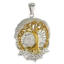 details about tree of life pendant sterling silver gold plated celtic knot jewelry yggdrasil