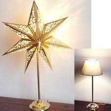Tischleuchte Stern Papier Goldfarben Weihnachten Fensterdeko