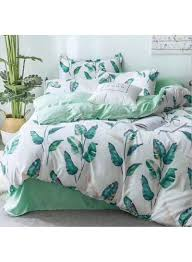 6 piece leaves design duvet cover sets cotton white green double