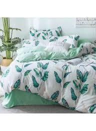 6 piece leaves design duvet cover sets cotton white green double