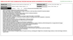 Sample Traders Resume Security And Commodities Trader Resume Sample