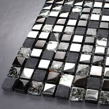 tst glass stone tiles black dark gray squared natural marble blends crystal mosaic tstmgt004