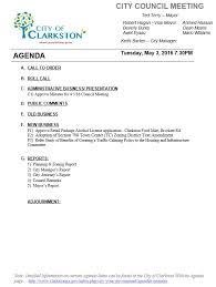 Work Meeting Agenda Work Session Council Meeting Agenda 5 3 16 City Of Clarkston