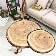 multisize circular abstract wood grain tree design doormat rug washable non slip foot mat kid child room bedside carpets round rug wood with
