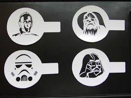 cookie stencil star wars latte stencil cake duster templates icing cocoa coffee handmade