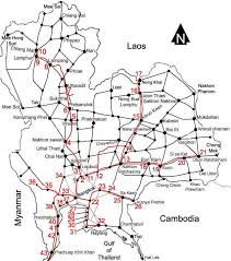 thailand train railway map north, north east and central Northern Train Line Map major train stations and their distance (km) from bangkok 1 = ayutthaya 2 = phachi 3 = lopburi (133 km) 4 = nakhon sawan (246 km) 5 = phichit (347 km) northern train line map
