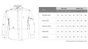 Dress Shirt Size Chart Nautical Uno Jr Black