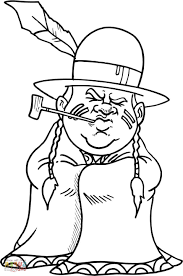 Pilgrim And Native American Coloring Pages Animal Of Tribes
