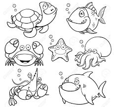 海の動物コレクション 塗り絵のベクトル イラスト
