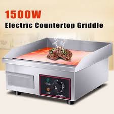 1500w electric countertop griddle commercial restaurant flat top grill bbq
