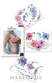 Makeup флеш тату акварельные переводные Miami Tattoos Flower Power купить по лучшей цене в