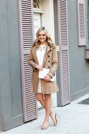 spring outfit classic trench coat white dress with pops of pastels