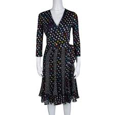 Diane Von Furstenberg Floral And Dot Print Paneled Caprice Wrap Dress S