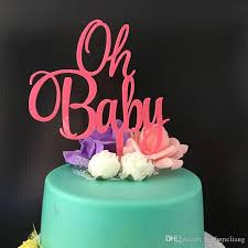 2019 Oh Baby Acrylic Pink Baby Shower Cake Topper Baby Girl Birthday