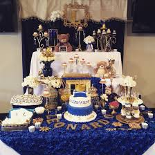 Blue And Gold Baby Shower Decorations Royal Prince Royal Prince Baby Shower Candy Buffet Sweets Table