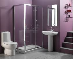interior decoration of bathroom. Gorgeous Ideas For Interior Design Bathroom : Extraordinary Purple Nuance With One Piece Toilet And Decoration Of D